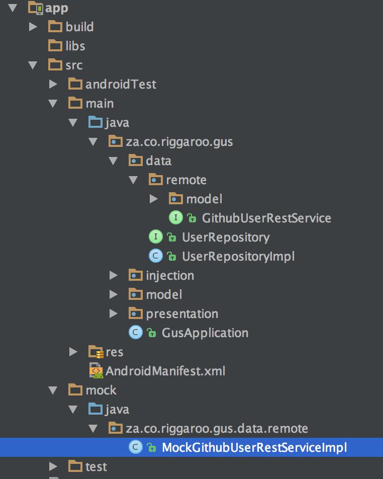 Folder structure for mock testing
