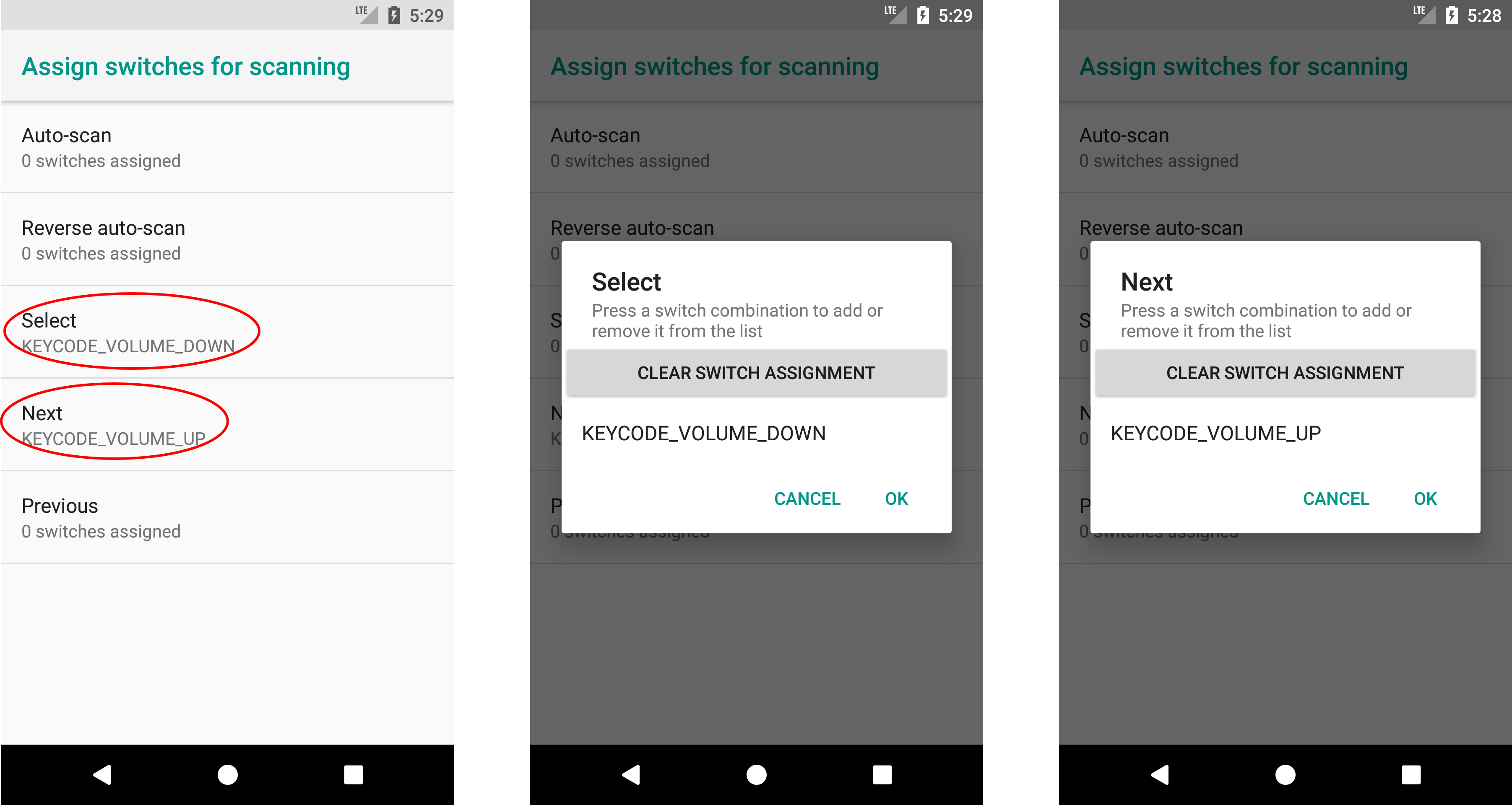 Switch Access Android - Assign action to button